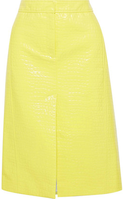 Tibi Croc-effect Faux Glossed-leather Skirt