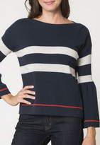 Autumn Cashmere Trumpet Sleeve Striped Boatneck Sweater