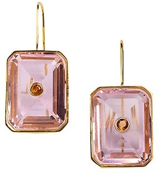 Lizzie Fortunato Tile 18K Rose Goldplated, Quartz & Citrine Drop Earrings
