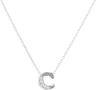 Latelita Diamond Initial Letter Pendant Necklace Silver C