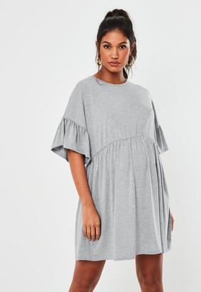 Missguided Grey Frill Sleeve Maternity Smock Dress