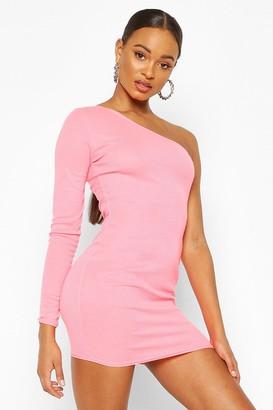 boohoo Neon Rib One Shoulder Bodycon dress