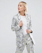 Asos Longerline Blazer In Metallic Jacquard