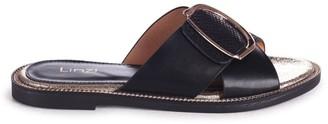 Linzi VEGAS - Black Slip On Slider With Crossover Front Strap & Giant Buckle Detail