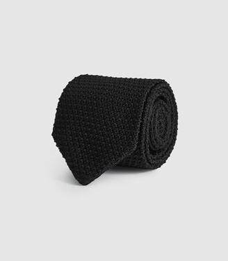 Reiss Jackson - Silk Knitted Tie in Black