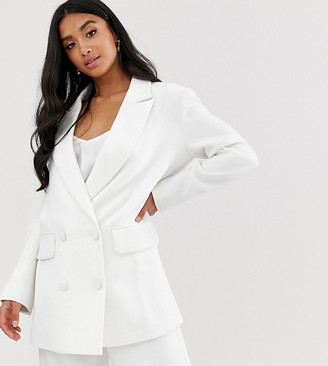 Asos EDITION Petite double breasted wedding jacket-White