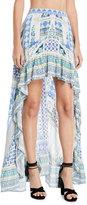 Camilla Elasticized Printed High-Low Silk Skirt