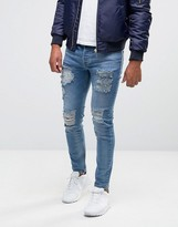 SikSilk Slim Jeans With Distressing