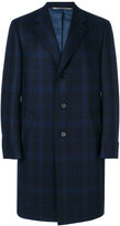 Canali check detail single-breasted coat