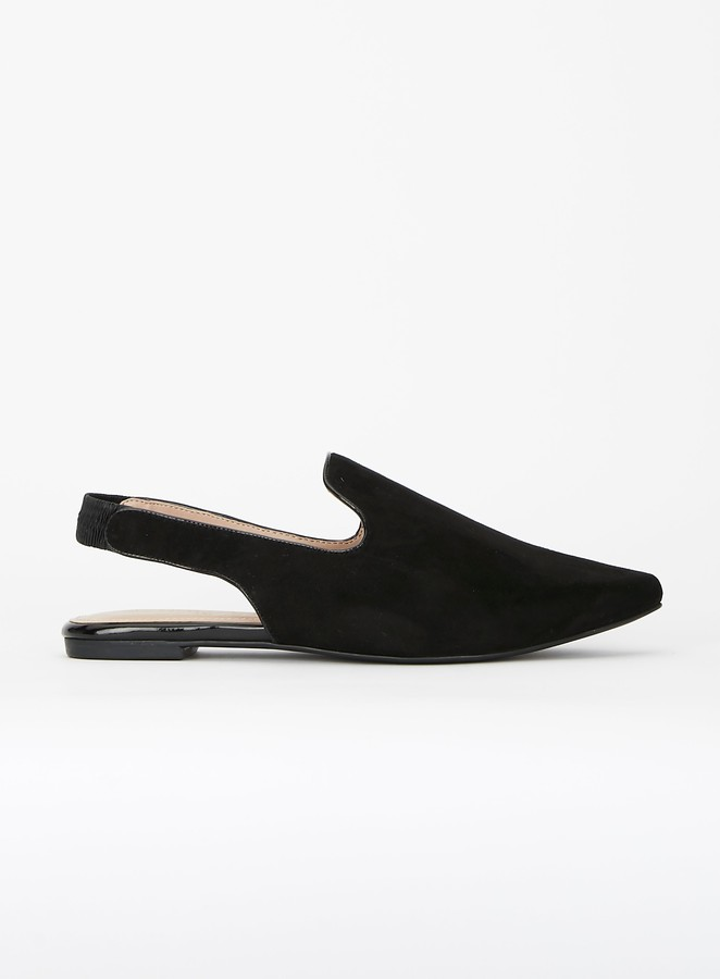Evans EXTRA WIDE FIT Black Pointed Flat Mules
