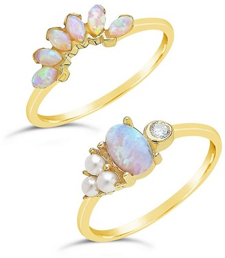 Sterling Forever Set of Two Sterling Silver, Faux Pearl Crystal Stackable Rings