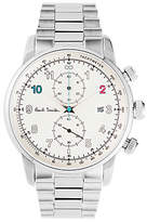 Paul Smith P10142 Men's Gauge Chronograph Date Bracelet Strap Watch, Silver/White