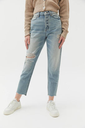 BDG High-Waisted Slim Straight Jean - Distressed Light Wash