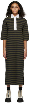 Ganni Khaki and Black Striped Polo Dress