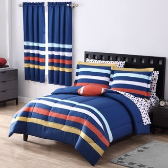 Your Zone Rugby Stripe Bed in a Bag w/ Decorative Pillow