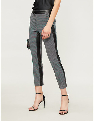 Pinko Trancia houndstooth tapered cropped woven trousers