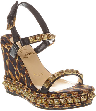 Christian Louboutin Pira Ryad 110 Leather Wedge Sandal