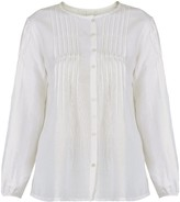 Gisy Metal Puff-Sleeves Silk Blouse White
