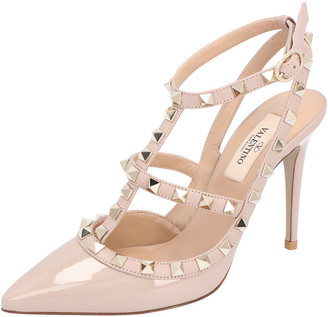 Valentino Light Pink Rockstud Patent Leather Caged 100 Ankle Strap Size 36