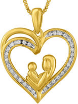 FINE JEWELRY 1/10 CT. T.W. Diamond 14K Yellow Gold Over Silver Heart Pendant Necklace
