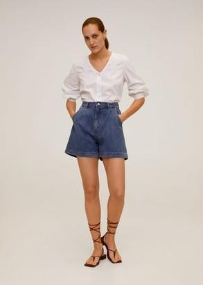 MANGO Double baby-collar shirt off white - 4 - Women