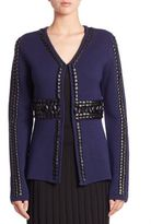 Altuzarra Copperhead Leather-Trim Wool Cardigan