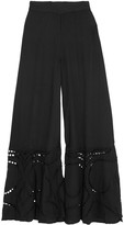 Vix Pointelle-paneled knitted wide-leg pants