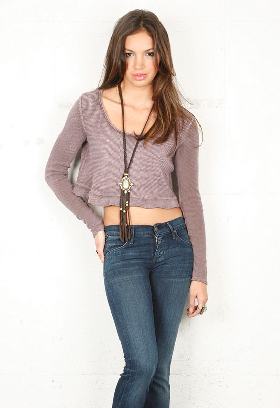 Free People Thermal Love Top in Taupe -
