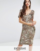 Club L Sequin Midi Dress with Cap Sleeve