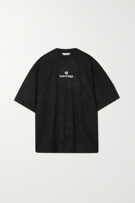 Balenciaga Oversized Embroidered Crinkled-jersey T-shirt - Black