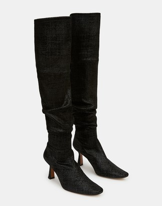 Lafayette 148 New York Embossed Metallic Suede Pia Tall Boot