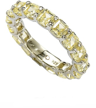 LeVian Suzy Jewelry Sterling Silver Yellow CZ Modern Eternity Band Ring