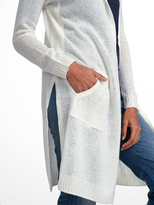 White + Warren Cashmere Side Slit Hooded Cardigan