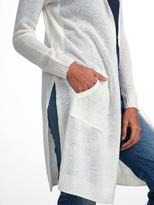 White + Warren Cashmere Side Slit Hooded Cardigan