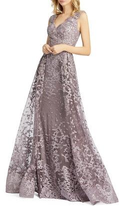 Mac Duggal Beaded Floral Embroidered V-Neck Sleeveless Gown with Overskirt