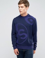 Ps By Paul Smith Paul Smith Jumper In Fleck And Cable Detail In Navy