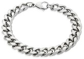"""Crucible Men's Crucible Stainless Steel Beveled Curb Chain Bracelet (11mm) - Silver (8.5"""")"""