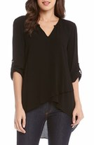 Karen Kane Women's Asymmetrical Hem Faux Wrap Top