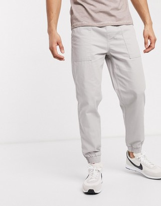 New Look cuffed utility pants in gray