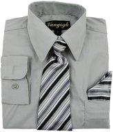 Vangogh Boys Long Sleeve Dress Shirt With Tie & Hanky