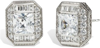Savvy Cie Sterling Silver Princess Cut CZ Stud Earrings