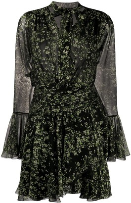 Giambattista Valli Silk Long-Sleeve Floral Shift Dress