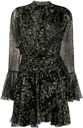 Giambattista Valli Silk Long-Sleeve Floral Shift Dress