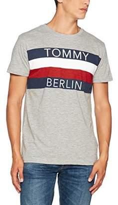 Tommy Jeans Men's City Short Sleeve Round Collar T-Shirt, Multicoloured (Light Grey Heather/Berlin), Medium (Manufacturer Size: M)