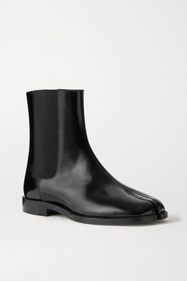 Maison Margiela Tabi Split-toe Patent-leather Chelsea Boots - Black