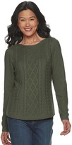 Croft & Barrow Women's Cable Boat Neck Sweater