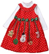 LianLe Snowman Corduroy Christmas Corduroy Dress & Bodysuit Set