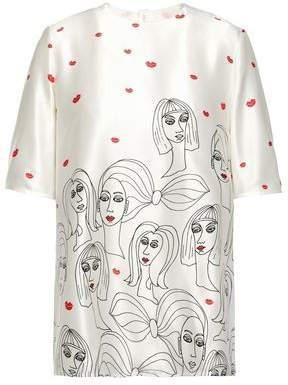Victoria Victoria Beckham Printed Silk-satin Blouse