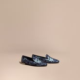 Burberry Floral Print Silk Cotton Loafers