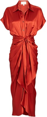 Divine Heritage Satin Tie-Waist Midi Dress